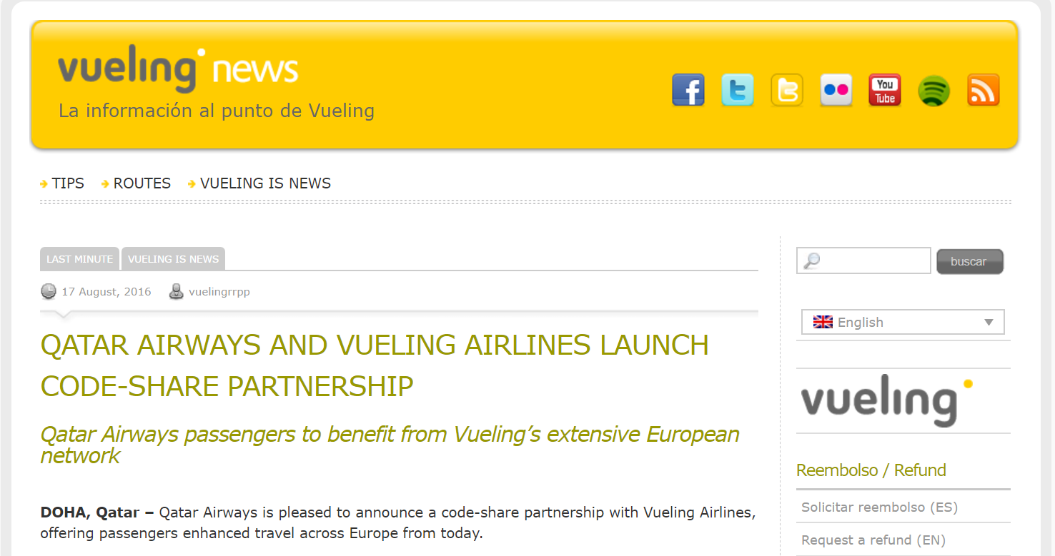 vueling e qatar airways codesharing